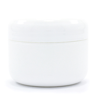 Double Wall White Plastic Jar w/Dome Lid - Bottles and Containers